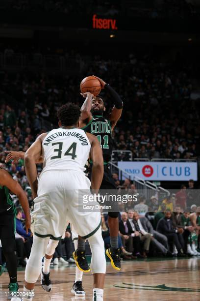 Kyrie Irving of the Boston Celtics shoots the ball against the Milwaukee Bucks during Game One of the Eastern Conference Semifinals of the 2019 NBA...