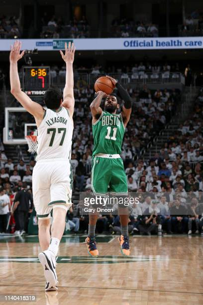 Kyrie Irving of the Boston Celtics shoots the ball against the Milwaukee Bucks during Game Two of the Eastern Conference Semifinals of the 2019 NBA...