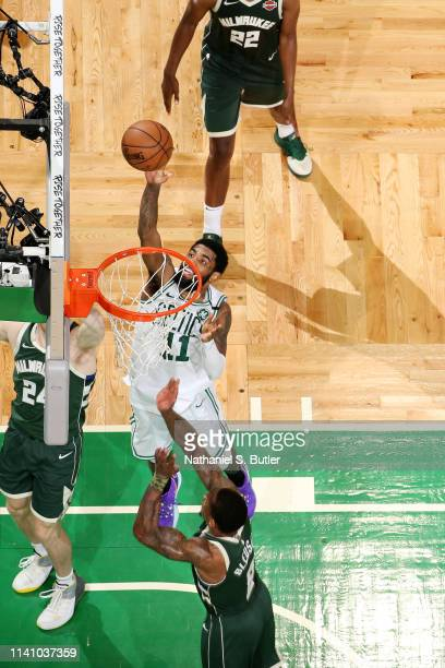 Kyrie Irving of the Boston Celtics shoots the ball against the Milwaukee Bucks during Game Three of the Eastern Conference Semi Finals of the 2019...