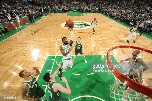 Kyrie Irving of the Boston Celtics shoots the ball against the Milwaukee Bucks during Game Four of the Eastern Conference Semifinals of the 2019 NBA...