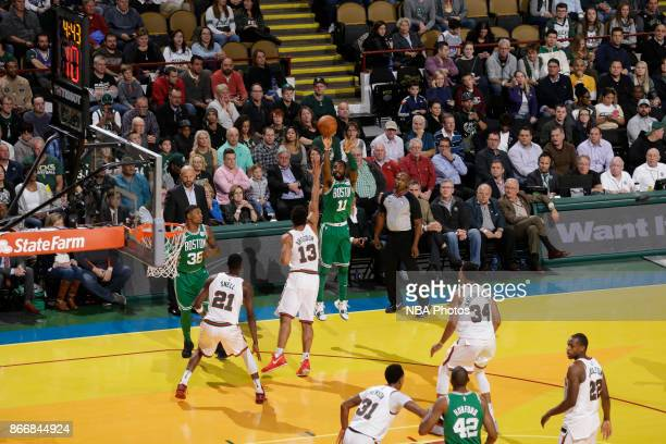 Kyrie Irving of the Boston Celtics shoots the ball against the Milwaukee Bucks on October 26 2017 at the UWMilwaukee Panther Arena in Milwaukee...
