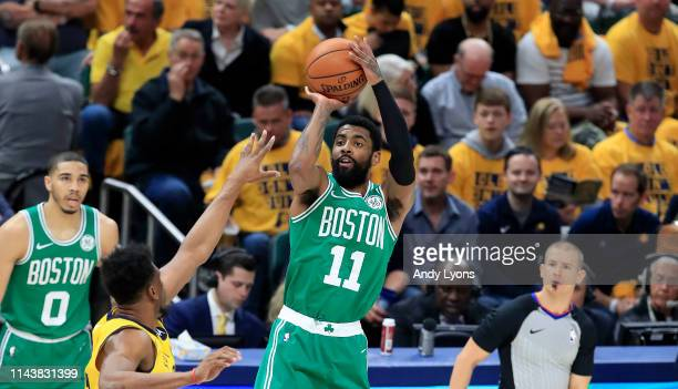 Kyrie Irving of the Boston Celtics shoots the ball against the Indiana Pacers in game three of the first round of the 2019 NBA Playoffs at Bankers...