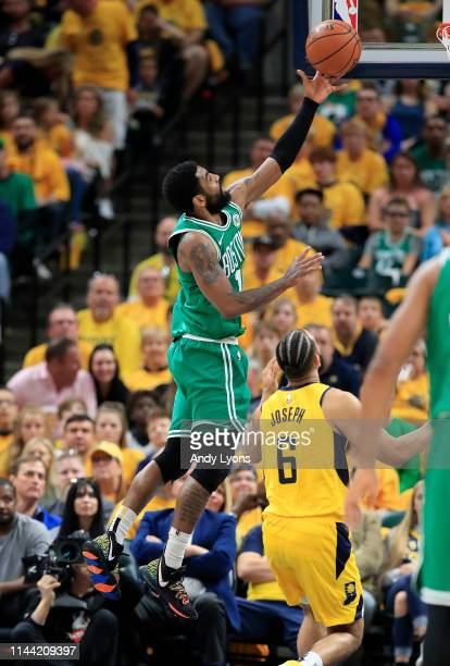 Kyrie Irving of the Boston Celtics shoots the ball against the Indiana Pacers in game four of the first round of the 2019 NBA Playoffs at Bankers...