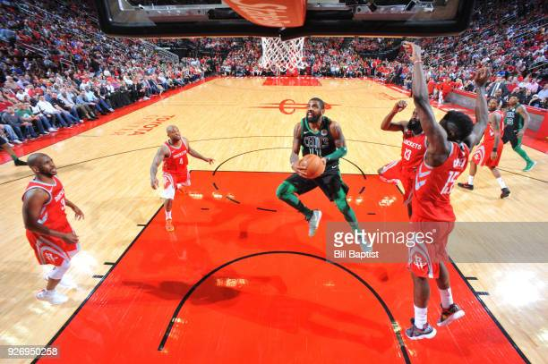 Kyrie Irving of the Boston Celtics shoots the ball against the Houston Rockets on March 3 2018 at the Toyota Center in Houston Texas NOTE TO USER...