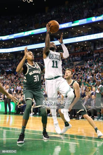 Kyrie Irving of the Boston Celtics shoots the ball during the game against the Milwaukee Bucks on October 18 2017 at the TD Garden in Boston...