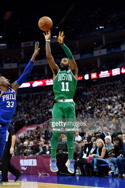 Kyrie Irving of the Boston Celtics shoots the ball during the game against the Philadelphia 76ers on January 11 2018 at The O2 Arena in London...