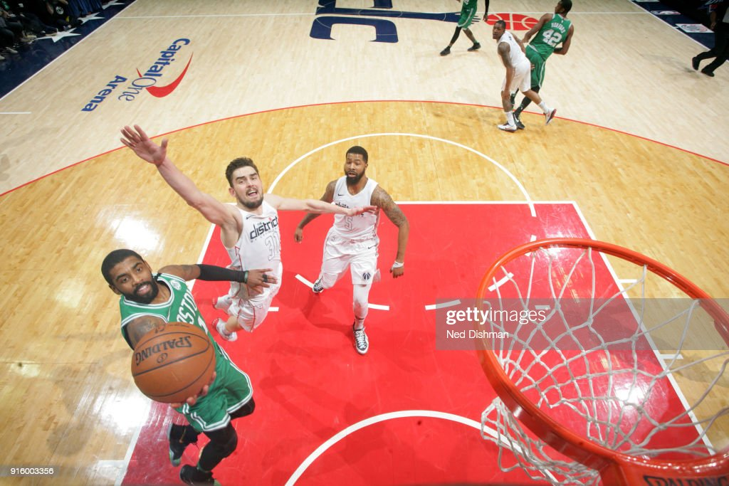 Kyrie Irving #11 of the Boston Celtics shoots the ball during the game against the Washington Wizards on February 8, 2018 at Capital One Arena in Washington, DC.
