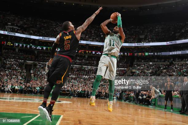 Kyrie Irving of the Boston Celtics shoots the ball during the game against the Cleveland Cavaliers on February 11 2018 at TD Garden in Boston...