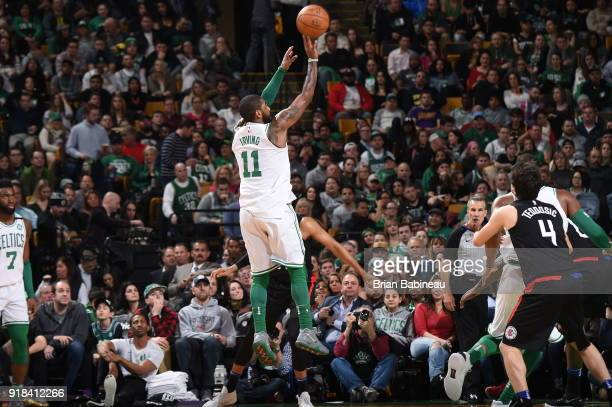 Kyrie Irving of the Boston Celtics shoots the ball during the game against the LA Clippers on February 14 2018 at the TD Garden in Boston...