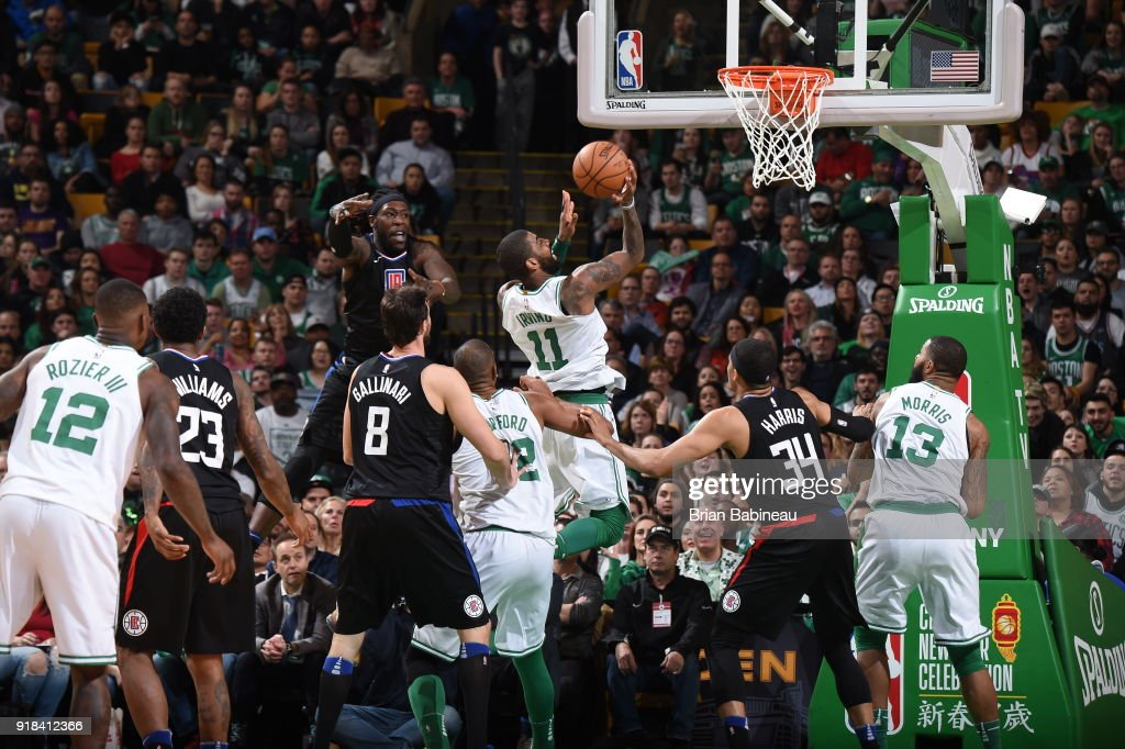 Kyrie Irving #11 of the Boston Celtics shoots the ball during the game against the LA Clippers on February 14, 2018 at the TD Garden in Boston, Massachusetts.