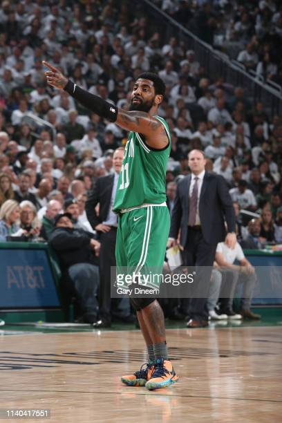 Kyrie Irving of the Boston Celtics signals to team during Game Two of the Eastern Conference Semifinals of the 2019 NBA Playoffs against the...