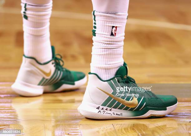 Kyrie Irving of the Boston Celtics sneakers during the game against the Detroit Pistons at TD Garden on November 27 2017 in Boston Massachusetts NOTE...