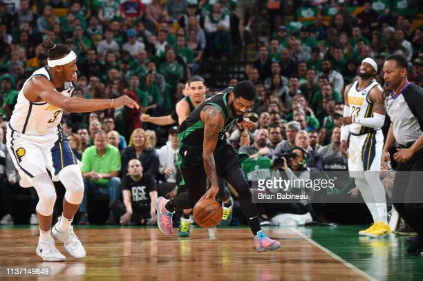 Kyrie Irving of the Boston Celtics steals the ball against the Indiana Pacers during Game One of Round One of the 2019 NBA Playoffs on April 14 2019...