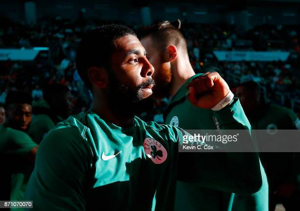 Kyrie Irving of the Boston Celtics walks on the court during player introductions prior to facing the Atlanta Hawks at Philips Arena on November 6...