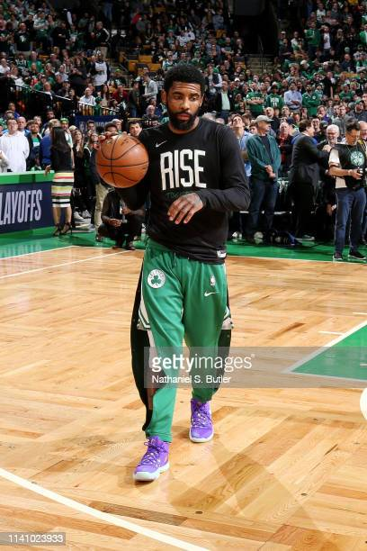 Kyrie Irving of the Boston Celtics warms up against the Milwaukee Bucks during Game Three of the Eastern Conference Semi Finals of the 2019 NBA...
