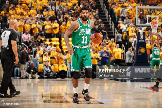 Kyrie Irving of the Boston Celtics warms up before Game Four of Round One of the 2019 NBA Playoffs against the Indiana Pacers on April 21 2019 at...