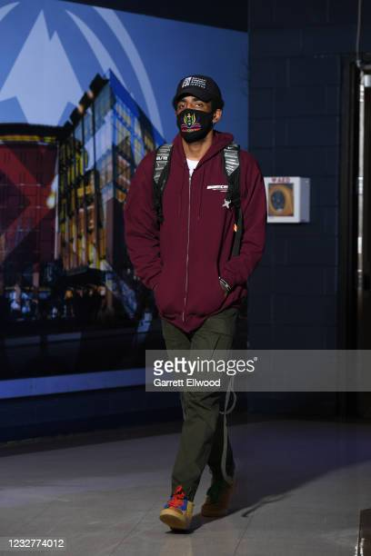 Kyrie Irving of the Brooklyn Nets arrives to the arena before the game against the Denver Nuggets on May 8, 2021 at the Ball Arena in Denver,...