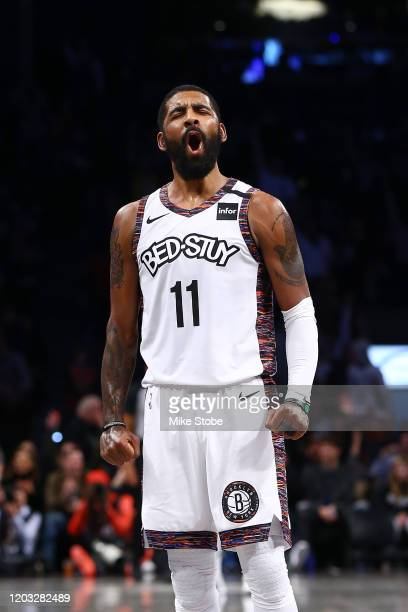 Kyrie Irving of the Brooklyn Nets celebrates after hitting a basket against the Chicago Bulls at Barclays Center on January 31, 2020 in New York...