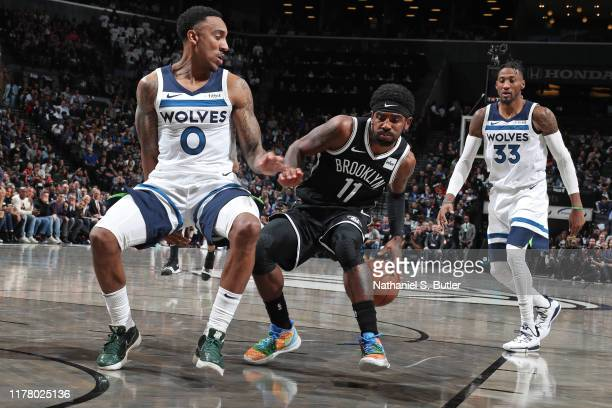 Kyrie Irving of the Brooklyn Nets dribbles the ball against the Minnesota Timberwolves on October 23, 2019 at Barclays Center in Brooklyn, New York....