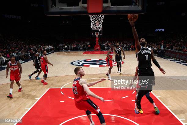 Kyrie Irving of the Brooklyn Nets drives to the basket against the Washington Wizards on February 1 2020 at Capital One Arena in Washington DC NOTE...