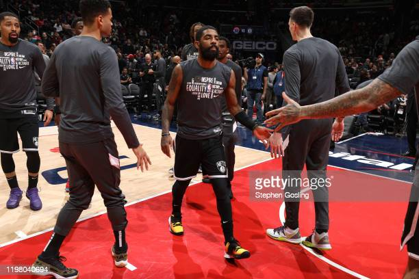 Kyrie Irving of the Brooklyn Nets gets introduced before the game against the Washington Wizards on February 1 2020 at Capital One Arena in...