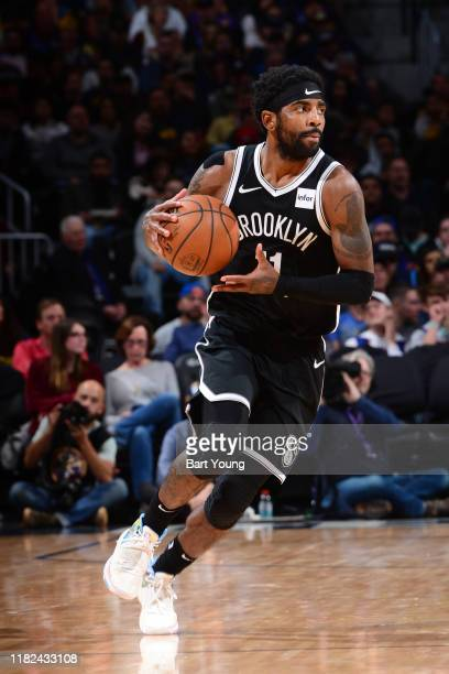 Kyrie Irving of the Brooklyn Nets handles the ball against the Denver Nuggets on November 14, 2019 at the Pepsi Center in Denver, Colorado. NOTE TO...