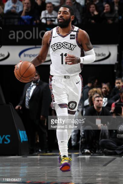 Kyrie Irving of the Brooklyn Nets handles the ball against the Atlanta Hawks on January 12, 2020 at Barclays Center in Brooklyn, New York. NOTE TO...