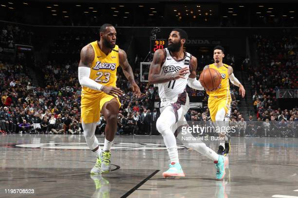 Kyrie Irving of the Brooklyn Nets handles the ball against the Los Angeles Lakers on January 23, 2020 at Barclays Center in Brooklyn, New York. NOTE...