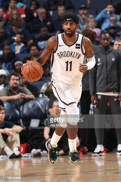 Kyrie Irving of the Brooklyn Nets handles the ball against the Memphis Grizzlies on October 27, 2019 at FedExForum in Memphis, Tennessee. NOTE TO...