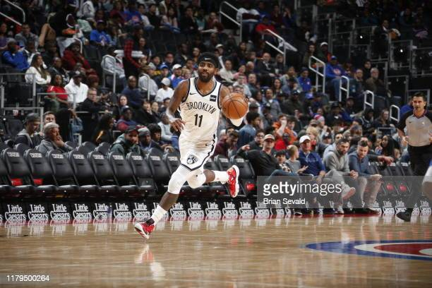 Kyrie Irving of the Brooklyn Nets handles the ball against the Detroit Pistons on November 2, 2019 at Little Caesars Arena in Detroit, Michigan. NOTE...