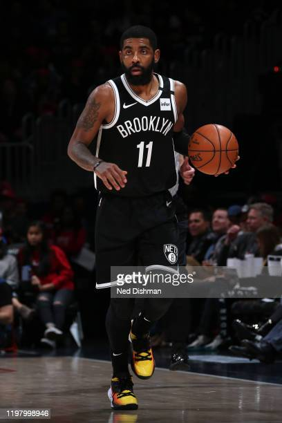 Kyrie Irving of the Brooklyn Nets handles the ball against the Washington Wizards on February 1 2020 at Capital One Arena in Washington DC NOTE TO...