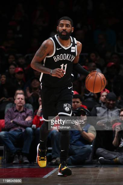 Kyrie Irving of the Brooklyn Nets handles the ball against the Washington Wizards on February 1, 2020 at Capital One Arena in Washington, DC. NOTE TO...