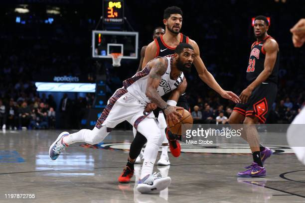 Kyrie Irving of the Brooklyn Nets in action against Chandler Hutchison of the Chicago Bulls at Barclays Center on January 31 2020 in New York City...
