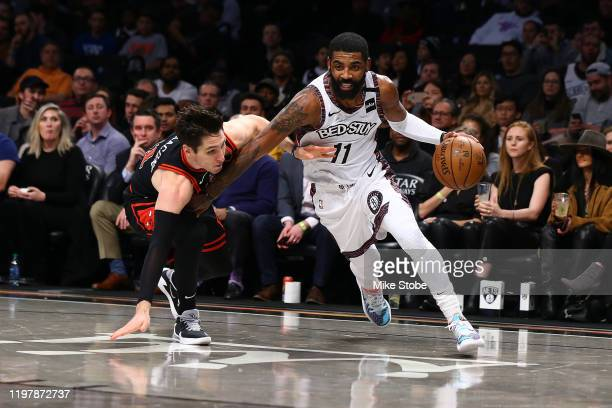 Kyrie Irving of the Brooklyn Nets in action against Ryan Arcidiacono of the Chicago Bulls at Barclays Center on January 31 2020 in New York City NOTE...