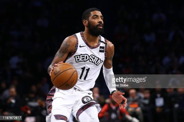 Kyrie Irving of the Brooklyn Nets in action against the Chicago Bulls at Barclays Center on January 31, 2020 in New York City. NOTE TO USER: User...