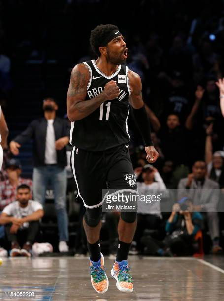 Kyrie Irving of the Brooklyn Nets in action against the Minnesota Timberwolves at Barclays Center on October 23, 2019 in New York City.