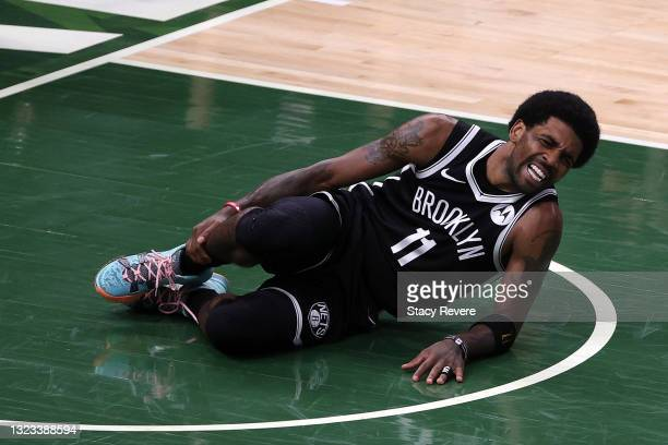 Kyrie Irving of the Brooklyn Nets is injured during the first half of Game Four of the Eastern Conference second round playoff series against the...