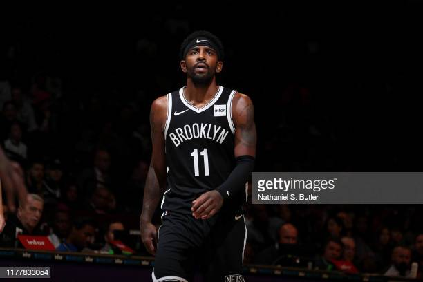 Kyrie Irving of the Brooklyn Nets looks on against the Minnesota Timberwolves on October 23, 2019 at Barclays Center in Brooklyn, New York. NOTE TO...