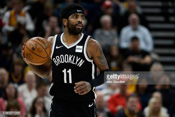 Kyrie Irving of the Brooklyn Nets looks on during a game against the Utah Jazz at Vivint Smart Home Arena on November 12, 2019 in Salt Lake City,...
