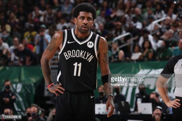 Kyrie Irving of the Brooklyn Nets looks on during Round 2, Game 4 of the 2021 NBA Playoffs on June 13 2021 at the Fiserv Forum Center in Milwaukee,...