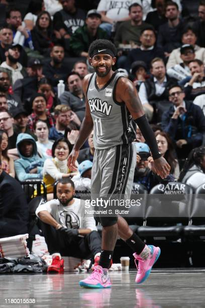 Kyrie Irving of the Brooklyn Nets looks on during the game against the New Orleans Pelicans on November 4, 2019 at Barclays Center in Brooklyn, New...