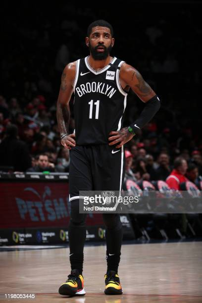 Kyrie Irving of the Brooklyn Nets looks on during the game against the Washington Wizards on February 1, 2020 at Capital One Arena in Washington, DC....