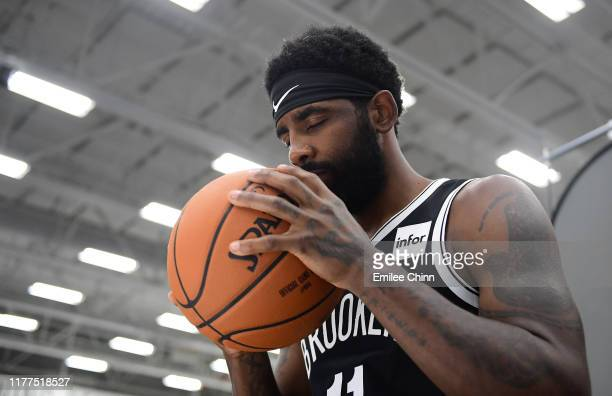Kyrie Irving of the Brooklyn Nets poses for a photograph during Media Day at HSS Training Center on September 27 2019 in the Brooklyn borough of New...
