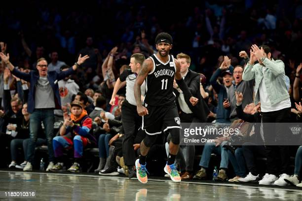 Kyrie Irving of the Brooklyn Nets reacts during the second half of their game against the Minnesota Timberwolves at Barclays Center on October 23,...