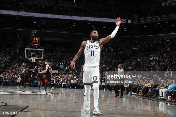 Kyrie Irving of the Brooklyn Nets reacts to crowd during the game against the Chicago Bulls on January 31, 2020 at Barclays Center in Brooklyn, New...