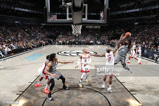 Kyrie Irving of the Brooklyn Nets shoots the ball against the Houston Rockets on November 1, 2019 at Barclays Center in Brooklyn, New York. NOTE TO...
