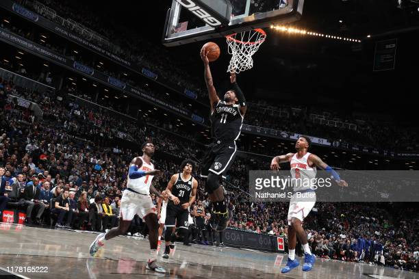 Kyrie Irving of the Brooklyn Nets shoots the ball against the New York Knicks on October 25 2019 at Barclays Center in Brooklyn New York NOTE TO USER...