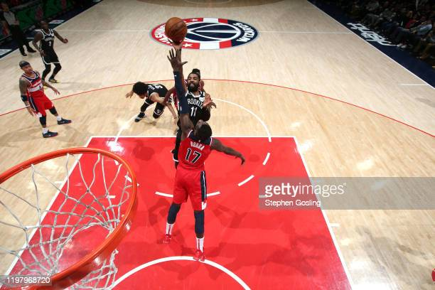 Kyrie Irving of the Brooklyn Nets shoots the ball against the Washington Wizards on February 1 2020 at Capital One Arena in Washington DC NOTE TO...