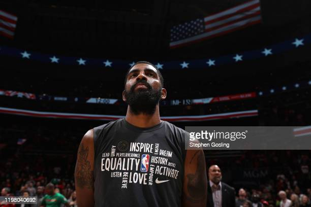 Kyrie Irving of the Brooklyn Nets stands for the national anthem before the game against the Washington Wizards on February 1, 2020 at Capital One...