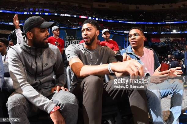 Kyrie Irving of the Cleveland Cavaliers Anthony Davis of the New Orleans Pelicans and Russell Westbrook of the Oklahoma City Thunder during the BBVA...
